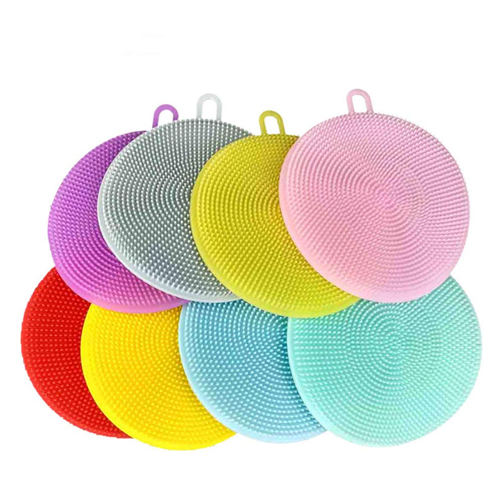 Silicone Cleaning Brush with Circular Chuck 8 pcs,Easy Cleaning Kitchenware,Dish, Vegetable,Fruit,Skin,Toiletry,Glassware, Ceramics Ltd. CS025