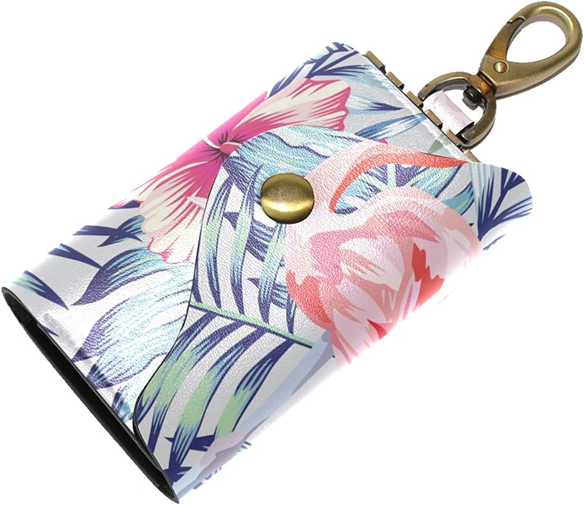 KEAKIA Orchid Hibiscus Flamingo Parrot Pattern Leather Key Case Wallets Tri-fold Key Holder Keychains with 6 Hooks 2 Slot Snap Closure for Men Women