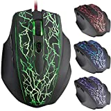 Gaming Mouse, iKross G1 2500 DPI Programmable Gaming Mouse - 4-Color LED Backlit / 6 Buttons / Omron Micro Switches/ Ultra Polling 125-1000Hz/ USB Wired Braided Cable / Optical Sensor/ Macro Recorder