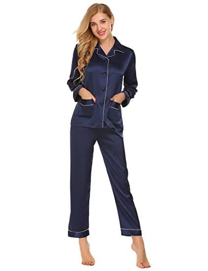 dffdf049c Women's Pajama Set Elastic Waist Satin Silky Long Sleeve Comfy Two Piece  Blue