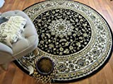 (US) Black Traditional Persian Vintage Fancy Area Rugs Round Rugs 5ft Living Room Circle Rugs