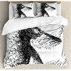 Ambesonne Black and White Duvet Cover Set, Abstract Artistic Illustration of a Baseball Player Posing Grunge Sports, 3 Piece Bedding Set with Pillow Shams, Queen/Full, Black White