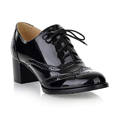 aa5378ae43 Shoes Odema Women Brogue Pumps Wingtip Lace-Up High Heel Oxfords Shoes