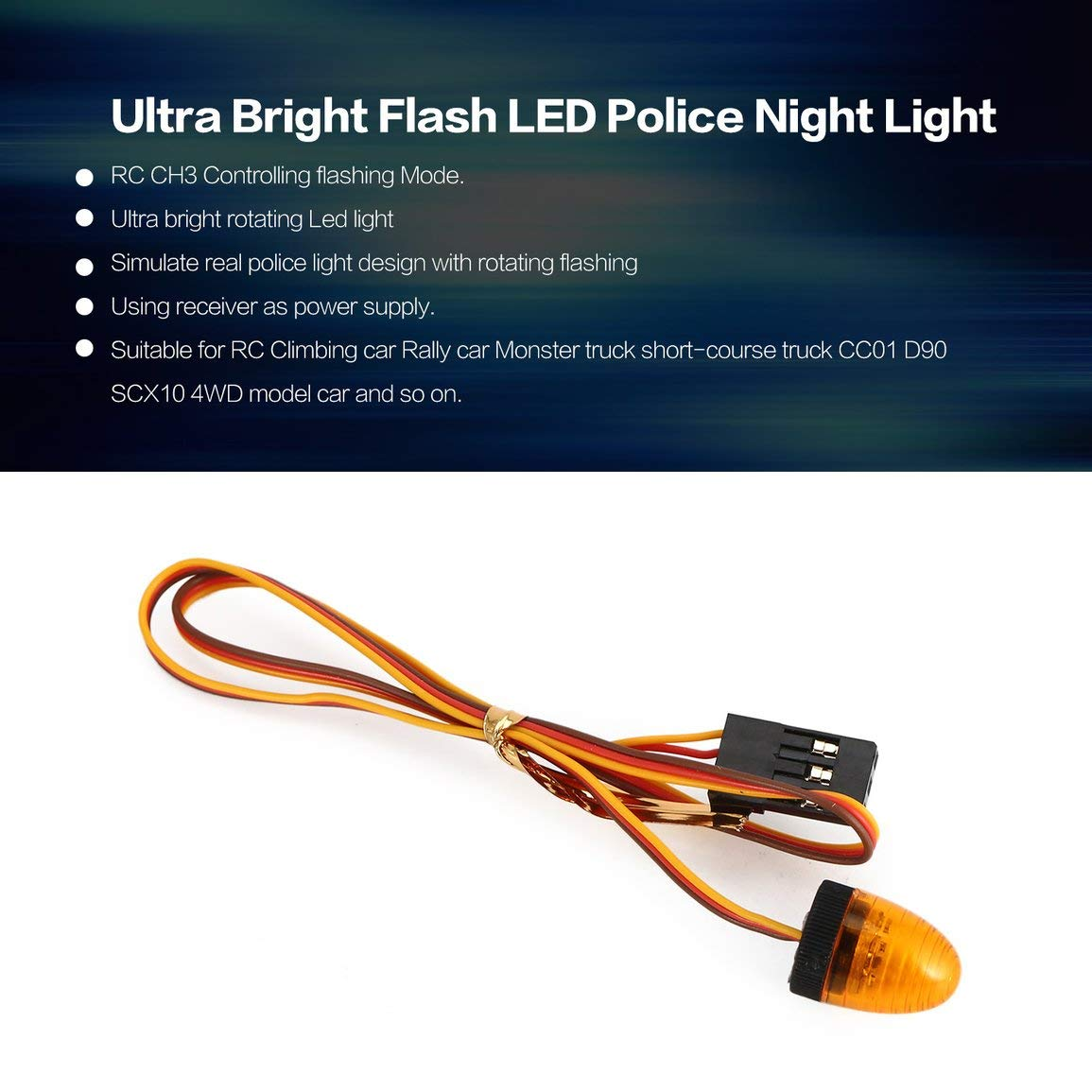 Fantasyworld Austar Multi-Fonction Ultra Bright LED Rotating Police Clignotant Night Lights Lampe pour Voiture RC HSP Tamiya CC01 axiale SCX10
