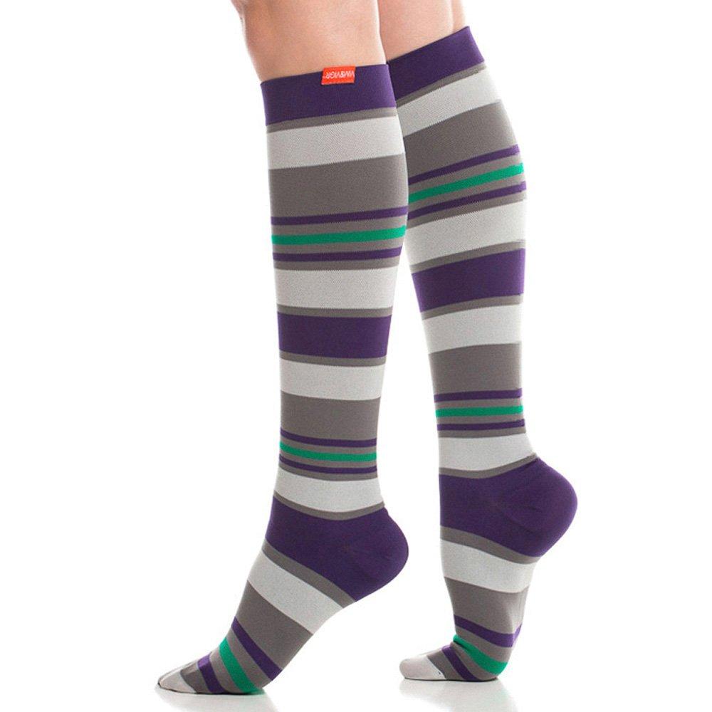 3e206b81f5 Amazon.com: VIM & VIGR Women's 20-30 mmHg Compression Socks: Fun Stripes -  Grey & Purple (Nylon) (Medium): Health & Personal Care