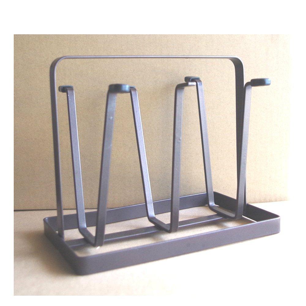 6 Cups Tea Cup Mug Metal Iron Draining Rack Kitchen Baby Bottle Drying Storage Shelf (BLACK)