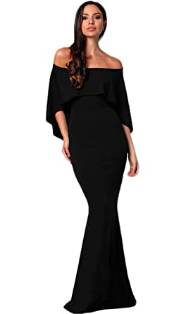 e20b564e1a9d Women's Mermaid Long Off The Shoulder Formal Evening Dresses Cape Party  Prom Gowns Black