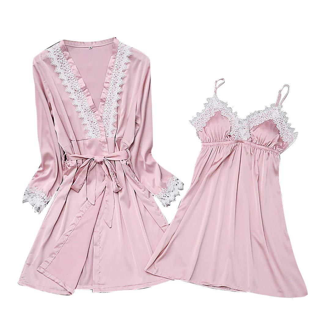 2019 New !Women's Silk Lace Lingerie Robe Dress Babydoll Sleepwear Nightdress Soft Pajamas Set Have a Good Dream (Pink, XXXL)