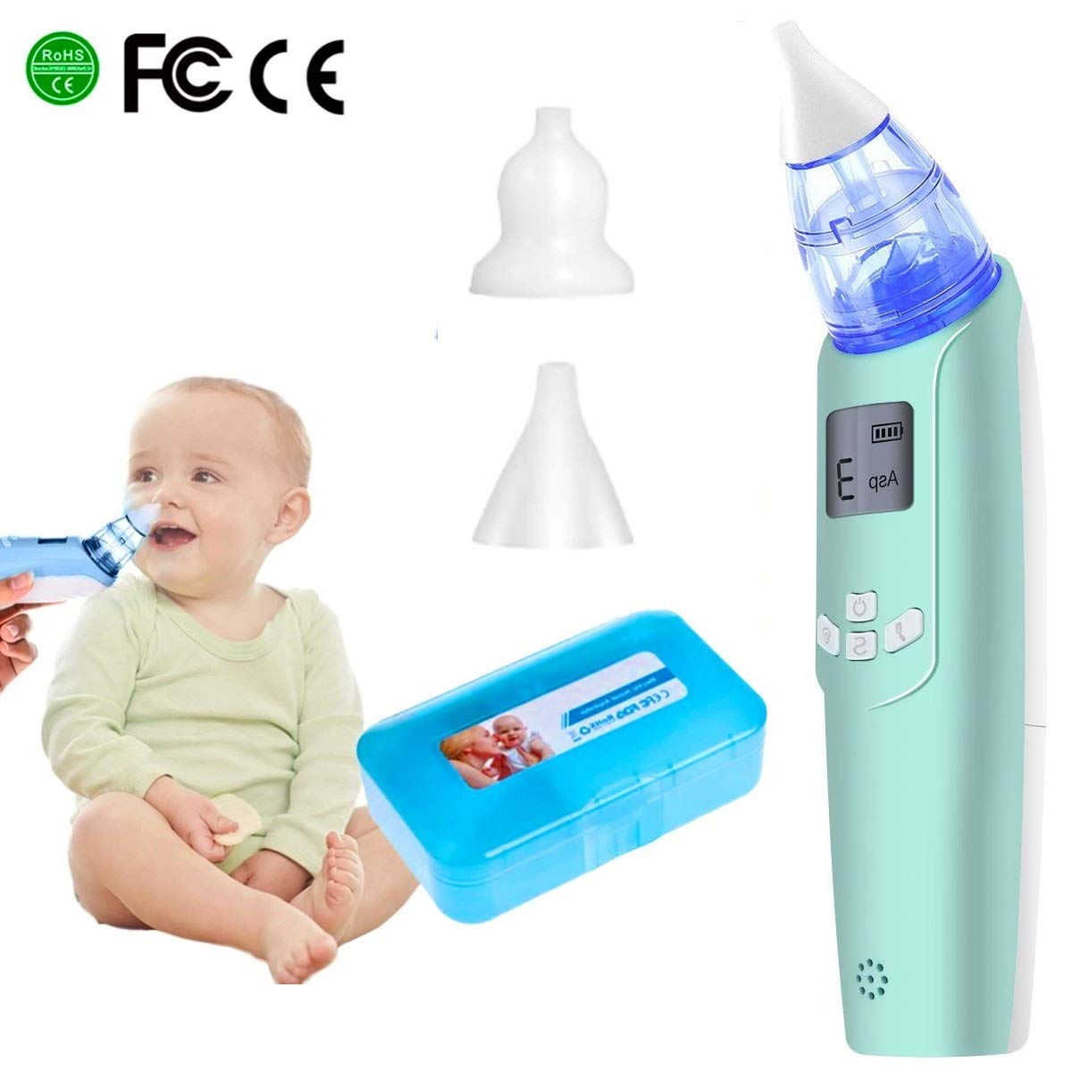 Electric Baby Nasal Aspirator - Battery Operated Nose Cleaner and Snot Sucker - Adjustable Settings and Reusable Tips with LCD Screen (Green) by Watolt