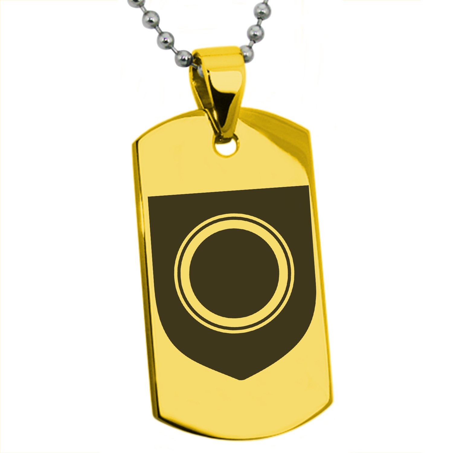 Tioneer Gold Plated Stainless Steel Annulet Fidelity Coat of Arms Shield Symbol Engraved Dog Tag Pendant Necklace