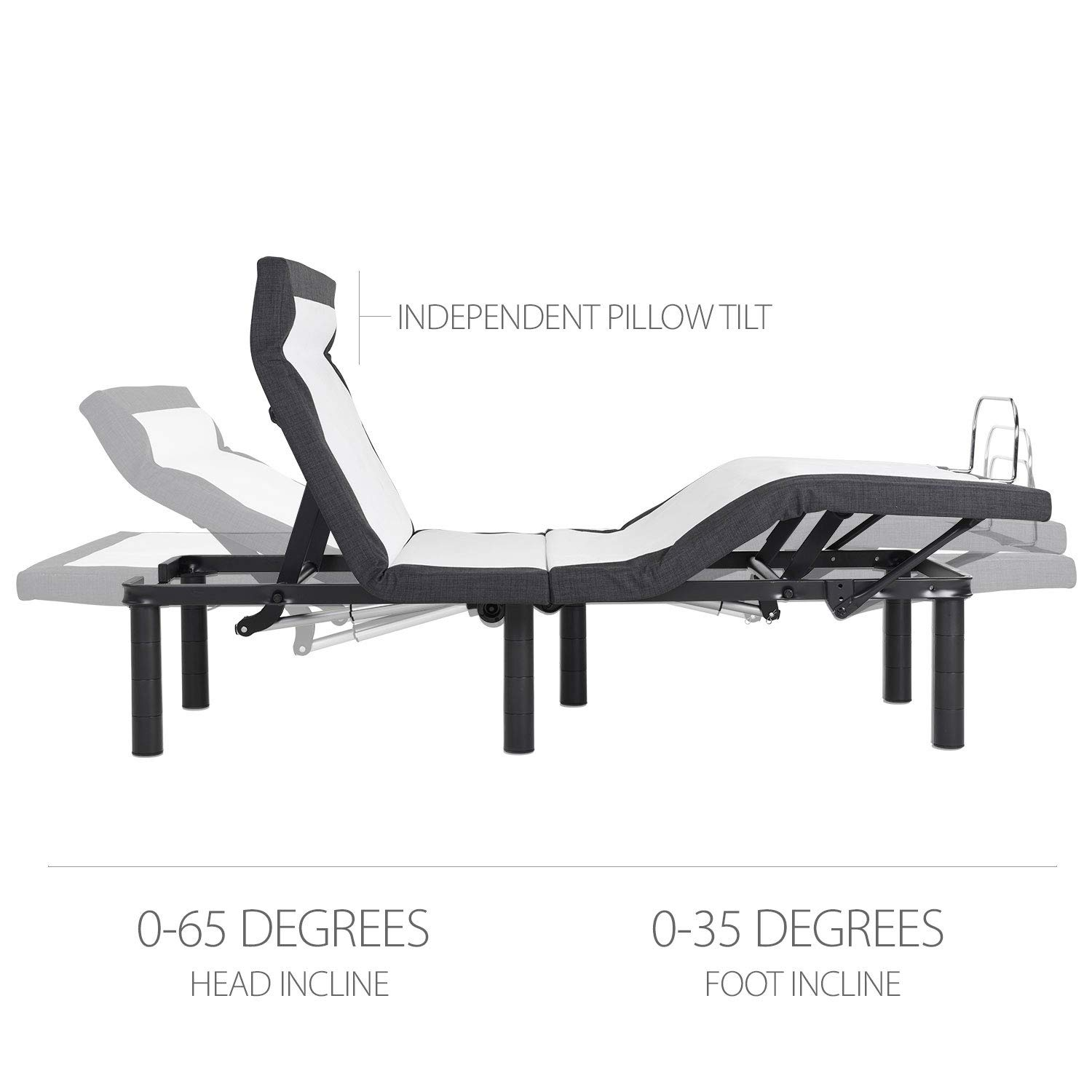 Adjustable Bed Frame with Head Tilt, Massage, Anti-Snore, Zero Gravity, Dual USB Charging Station, Under Bed Nightlight, Wireless Remote Head and Foot Incline (Twin XL)