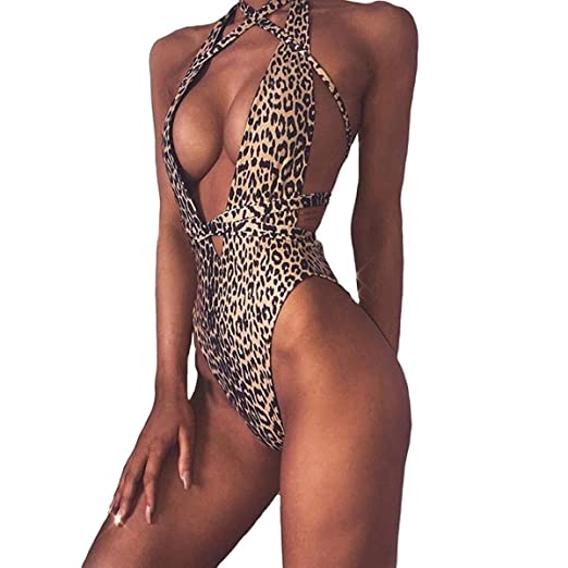 69c1ed2540 Women Leopard Print One Piece Swimsuit Swimwear Bandage High Cut Monokini Bathing  Suit (Small