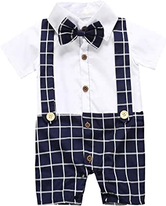 Camidy Toddler Baby Boy Short Sleeve Gentleman Outfit Bow Tie Plaid Romper Bodysuit