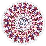 "Round Beach Towel Tassel Tapestry, RoxZoom 60"" Multi-Purpose Towel Beach Throw Blanket, Yoga Mat Picnic Mat, Tablecloth, Shawl Wrap, Mandala Roundies - Magenta Flowers"