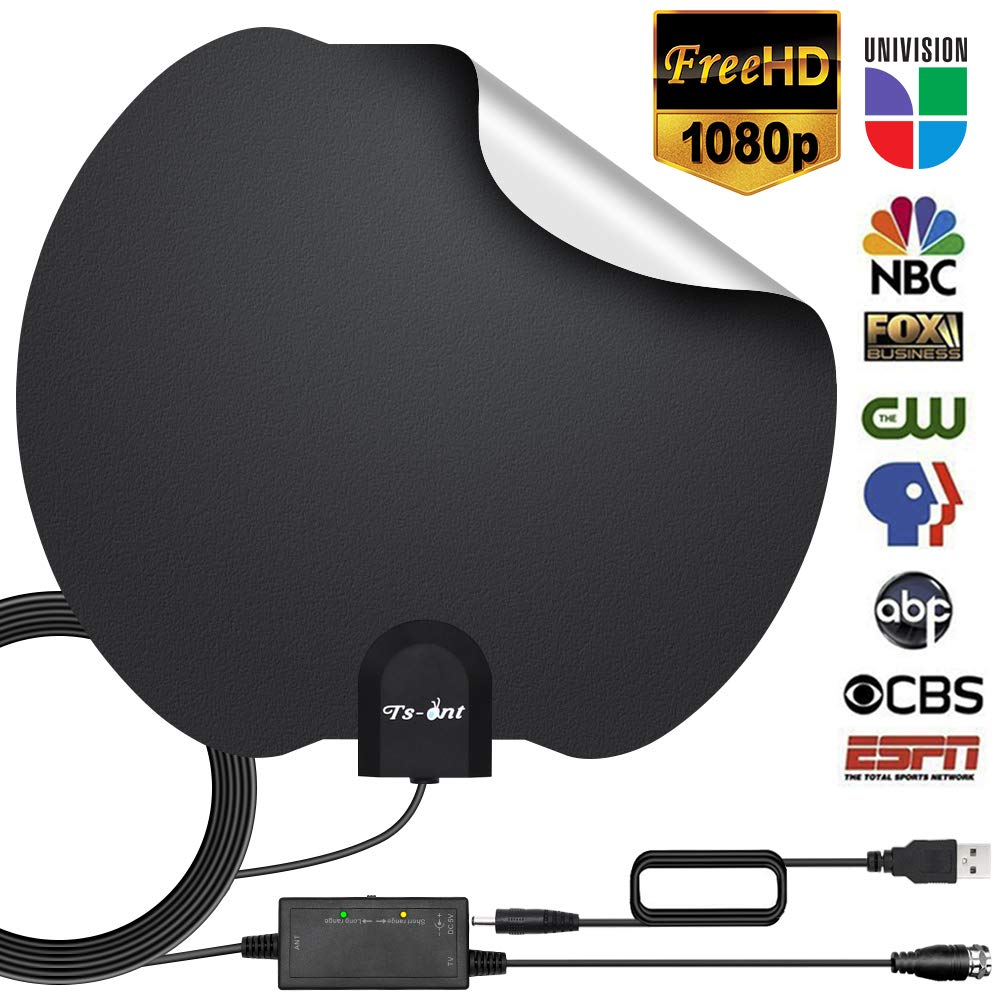 [2019 Newest] HDTV Antenna,Indoor Digital TV Antennas Amplified 140+ Miles Range Smart Amplifier Signal Booster, 1080P 4K VHF UHF Local Freeview Channels All TV's- 17ft Coaxial Cable.