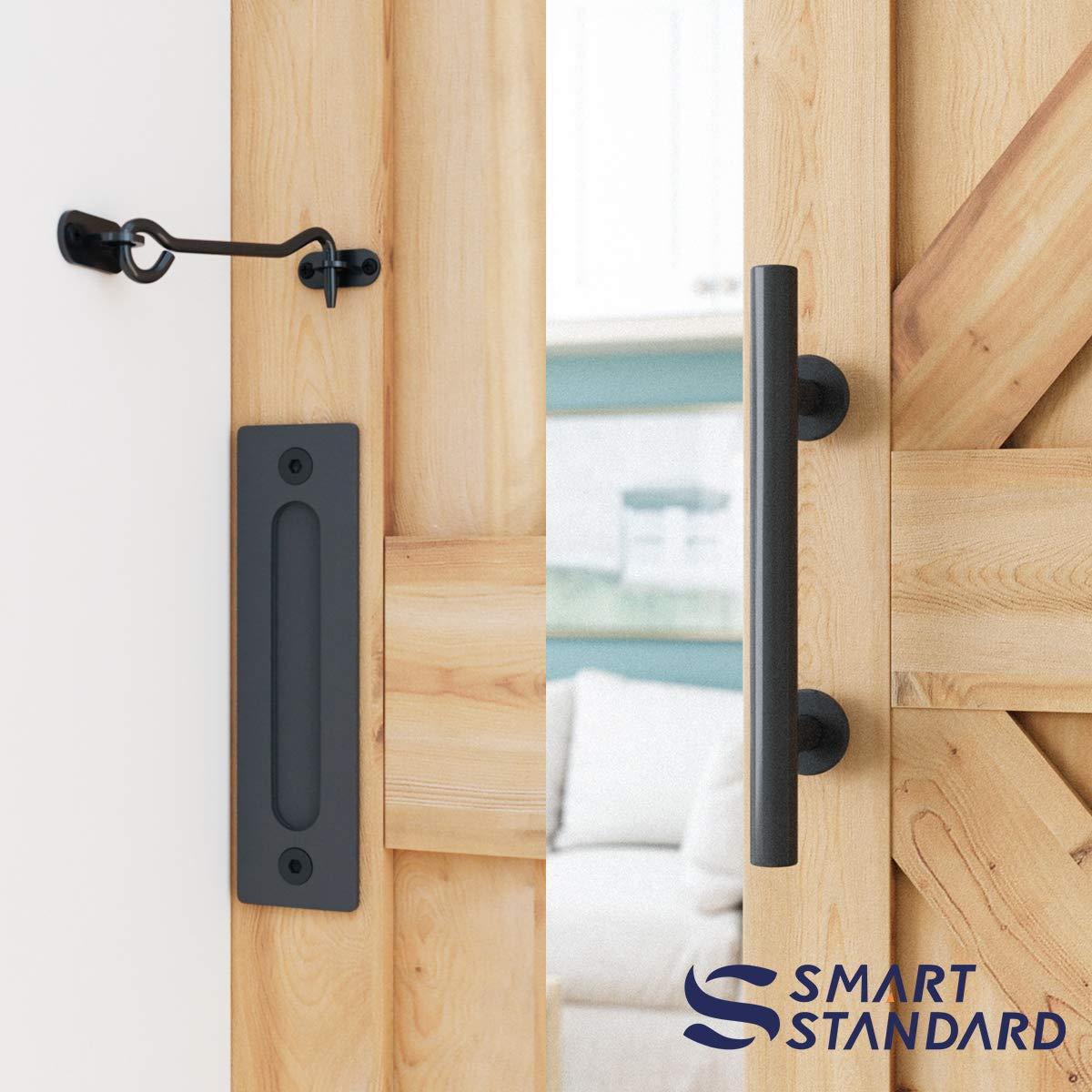 6.6 FT Heavy Duty Sturdy Sliding Barn Door Hardware Kit, 6.6ft Double Rail, Black, (Whole Set Includes 1x Pull Handle Set & 1x Floor Guide & 1x Latch Lock) Fit 36''-40'' Wide Door Panel (I Shape Hanger) by SMARTSTANDARD (Image #4)