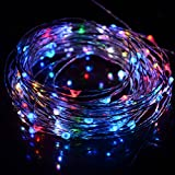 HAHOME Waterproof Led String Lights - 33Ft 100 LEDs Indoor and Outdoor Starry Lights with Power Supply for Christmas Wedding and Party Decoration - RGB