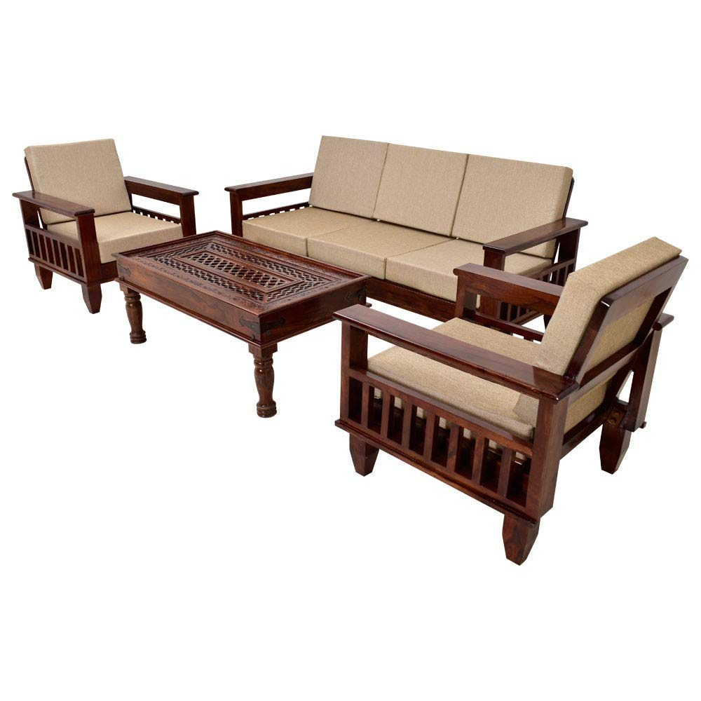 Craftatoz Sheesham Wood 5 Seater Sofa Set 3+1+1 for Living Room (Walnut  Dark Brown): Amazon.in: Home & Kitchen