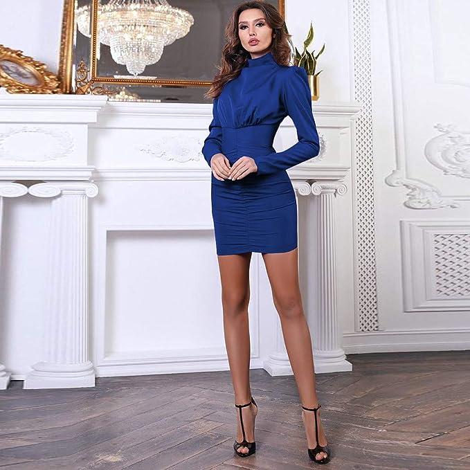 Elegancka damska sukienka jednokolorowa, z wysokim kołnierzem, z długim rękawem, w stylu vintage, francuska, koktajlowa, na imprezę, wieczorowa sukienka: Odzież