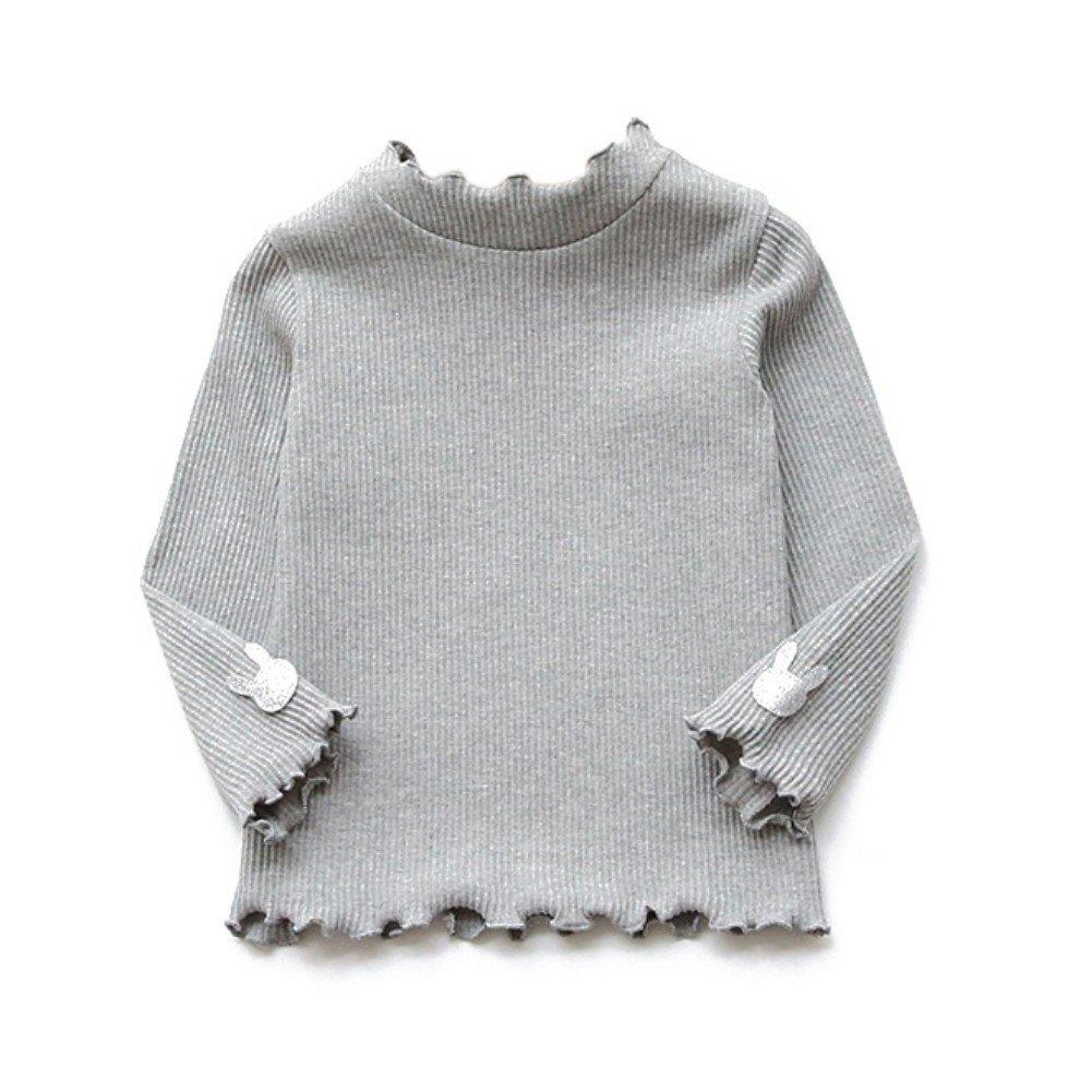 BOBORA Bambine ragazze alto collo solido colore manica lunga cotone maglia pullover Basic Top BON-IT-1086