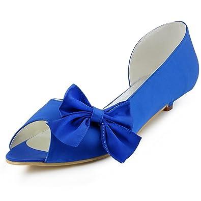 Amazon.com | ElegantPark Women WM 019 Peep Toe Low Heel Du0027orsay Bow Satin  Wedding Bridal Shoes | Fashion Sneakers
