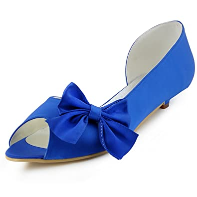 ElegantPark Women WM 019 Peep Toe Low Heel Du0027orsay Bow Satin Evening Party