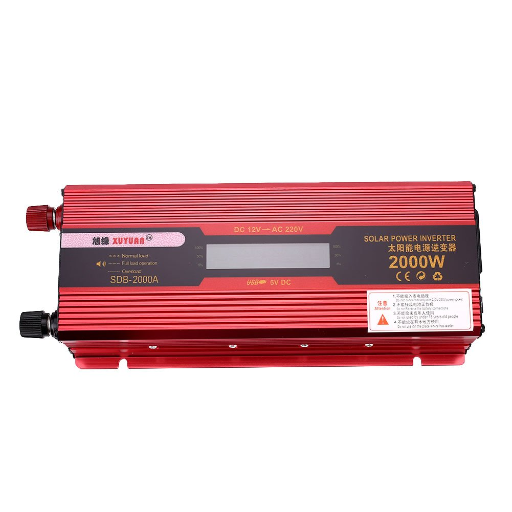 Sedeta 2000W Solar Inverter Adapter High Frequency LED Display Outlet Power Inverters DC24v to AC 220v Aluminium Alloy for Auto car home Red