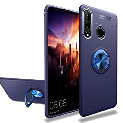 Newseego Compatible with Huawei P30 Lite Case,360 Degree Adjustable Ring Stand,Frosting Thin Soft Protective and Finger Ring Holder Kickstand Fit Magnetic Car Mount for Huawei P30 Lite-Blue+Blue: MP3 Players & Accessories