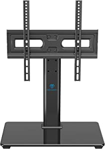 PERLESMITH Universal TV Stand Table Top TV Base for 32 to 55 inch LCD LED OLED 4K Plasma Flat Screen TVs - Height Adjustable TV Mount Stand with Tempered Glass Base, VESA 400x400mm, Holds up to 88lbs