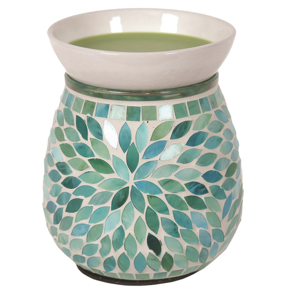Astin of London - Aroma Accessories Electric Green Petal Mosaic Wax Tart Melt Burner Lamp Hand Crafted Aroma Warmer