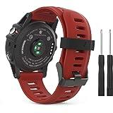 Rubik Garmin Fenix 3/Fenix 5X Watch Band, Soft Silicone Rubber Replacement Watch Band Strap for Garmin Fenix 3/Fenix 3 HR/Fenix 5X/5X Plus/D2 Delta PX/Descent Mk1 Smart Watch, Dark Red