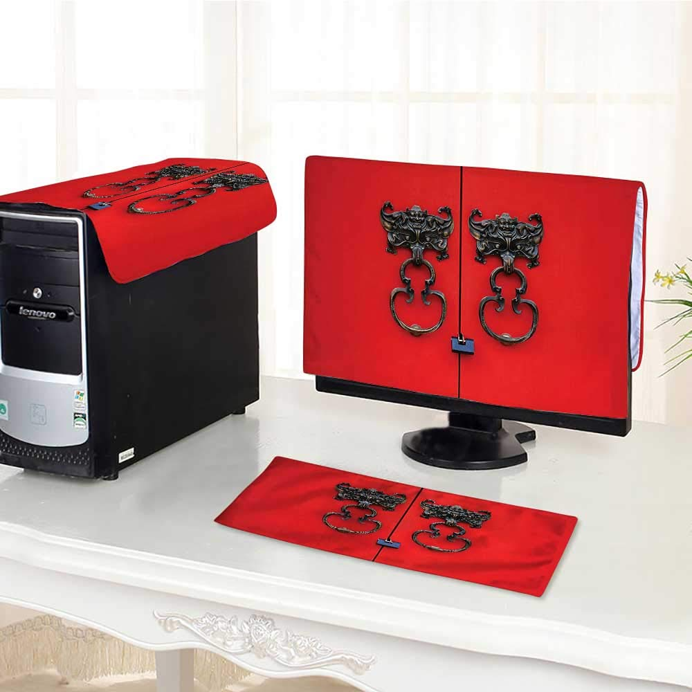 """Jiahonghome Computer Monitor Dust Cover 3 Pieces Rustic Bat Door Knocker on Door Entrance Design and Cultural Red and Copper Antistatic, Water Resistant /23"""""""