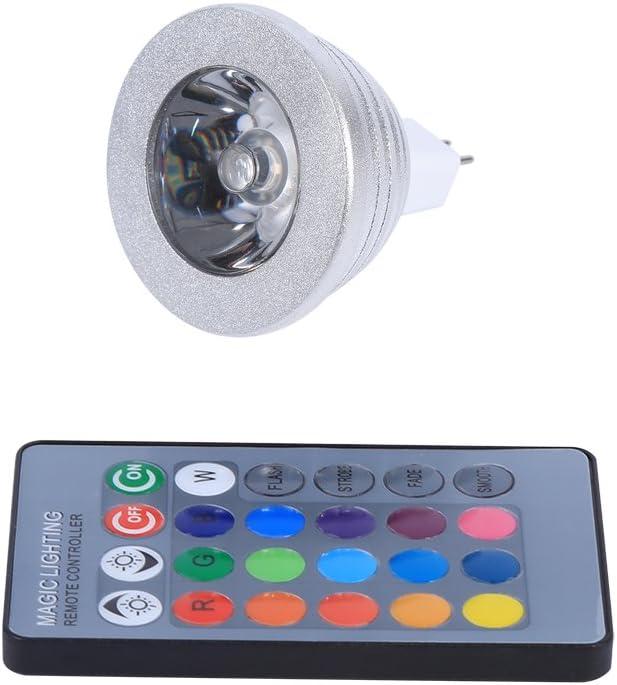 Raguso Bombilla de luz LED Que Cambia de Color, MR16 3W RGB Bombillas de luz LED de Color LED 12V-24V con Control Remoto para la Escena del Paisaje Decorativo de la Fiesta de la Barra casera