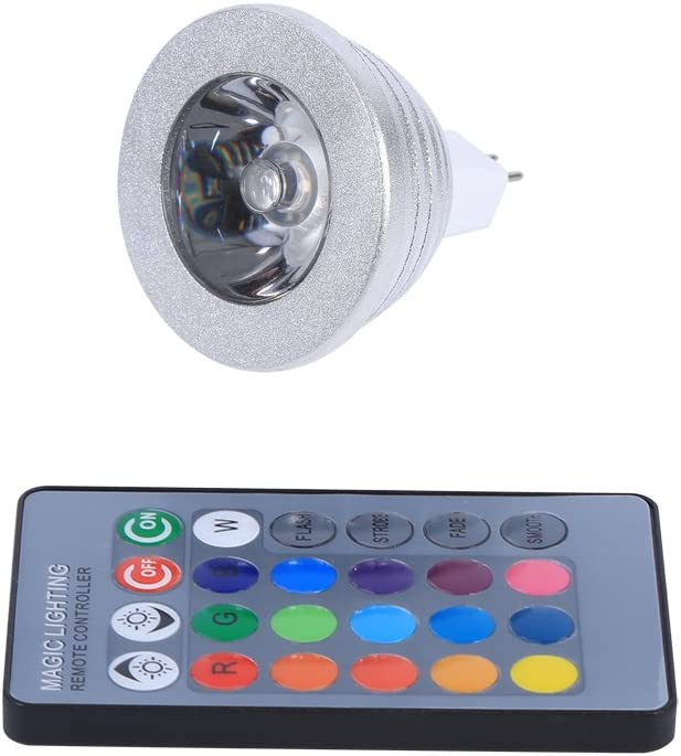 Fdit 12V-24V Bombilla de Luz LED Que Cambia de Colorcon Control Remoto para Hogar Bar Gran Control Remoto MR16 3W RGB Socialme-EU