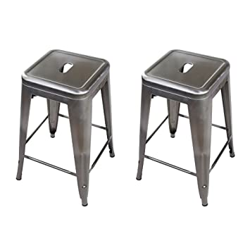Awe Inspiring Gia 24 Inch Backless Counter Height Stool With Metal Seat Gunmetal 2 Pack Forskolin Free Trial Chair Design Images Forskolin Free Trialorg