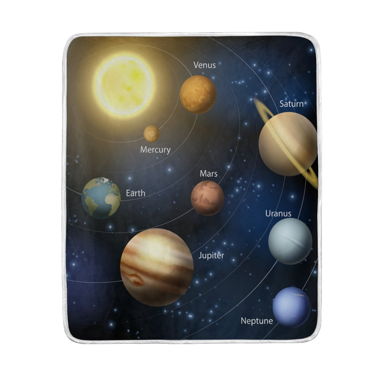 ALAZA Planets In The Solar System Blanket Luxury Throw Personalized Stylish Fuzzy Soft Warm Lightweight Blanket for Bed Counch All Season Unisex Adult Men Women Boys Girls 50x60 inches