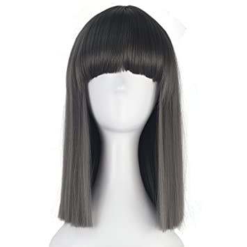 Jet Black with Bangs Long Length Cosplay Costume Wig
