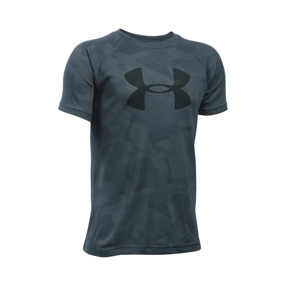 Under Armour Boys' Tech Big Logo Printed Short Sleeve T-Shirt, Stealth Gray /Black, Youth X-Small