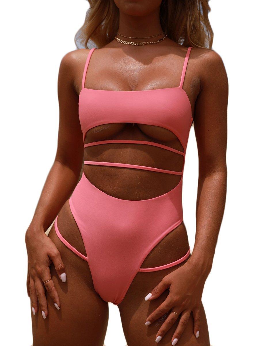 Royalove High Waist One Piece Swimsuit for Women Crop Top Cutout Strappy Thong Brazilian Style Bikini Suit Pink L