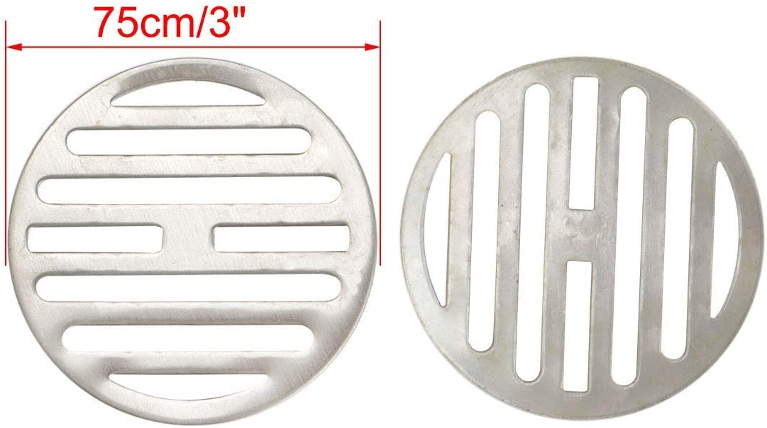 Set of 2 304 Stainless Steel Floor Siphon Strainer Cover 3 Inches Diameter Anti-Lock Round Drain Plug for Bathroom Bath Hair Catcher Filter