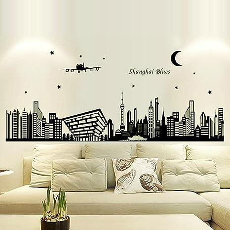 hatop ciudad siluetas luminoso pegatinas salón dormitorio ...