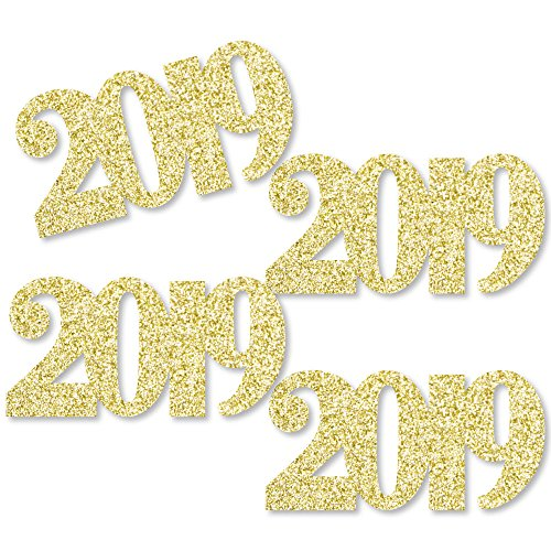 Gold Glitter 2019 - No-Mess Real Gold Glitter Cut-Out Numbers - Graduation Party Confetti - Set of 24]()