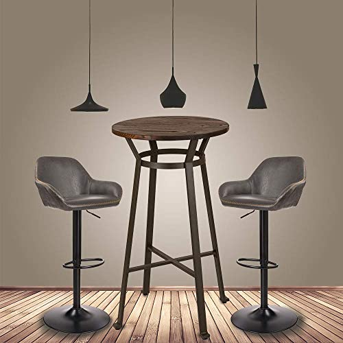 Glitzhome Rustic Steel Bar Table Round Wood Top and Dark Grey Adjustable Swivel Stools with Back Support,Set of 2