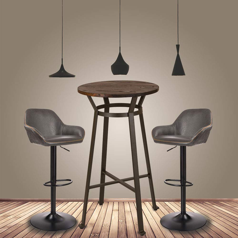 Glitzhome Rustic Steel Bar Table Round Wood Top and Dark Grey Adjustable Swivel Stools with Back Support,Set of 2 by Glitzhome