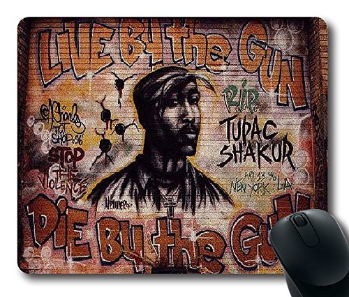 tupac Street Graffiti Custom Printed Rectangle Mouse Pad/Oblong Gaming Mousepad in 220mm*180mm*3mm (9