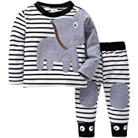Wanshop ® Baby Boy Clothes,Trouser Tops Outfits Clothes Sets Baby Boy Elephant Striped Print T-Shirt Tops Pants Toddler Boys 0-24 Months Outfits