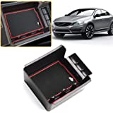 ABS Plastic Secondary Storage with Rubber Liners MyGone Center Console Armrest Box Insert Organizer Tray for Volvo XC60 S90 V90 2018-2019 No CD Player