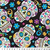 Folkloric Skulls Black Fleece Throw Blanket with Finished Edges