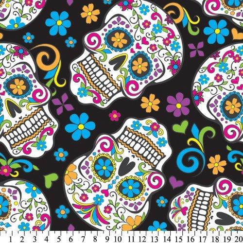 Folkloric Skulls Black Fleece Throw Blanket