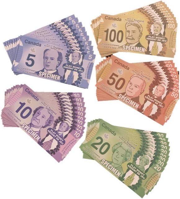 Set Includes 50 Bills Canadian Play Money